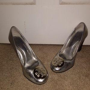Tory Burch Metallic Silver Wedge Heels Size 6
